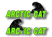 """2 ARCTIC CAT Swiping Vinyl 9"""" Graphic Decals for Snowmobile Sled Cowl Stickers"""