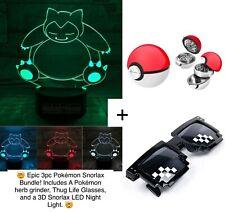3pc Snorlax Bundle / 3D LED Light, Pokemon Ball Herb Grinder & Thug Life Glasses