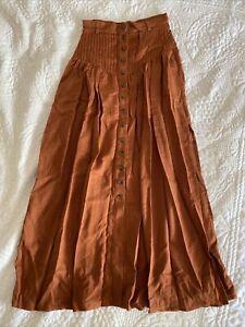 Spell & The Gypsy Button Down Linen Blend Maxi Skirt