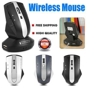 2.4GHz Wireless Optical Mouse Mice 3 USB Hub Charging Dock PC Laptop Computer