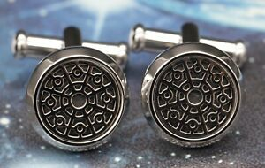 MONTBLANC URBAN SPIRIT CUFFLINKS IN POLISHED STAINLESS STEEL WITH ONYX INLAY