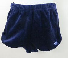 Adidas Ladies 70s 80s Velour Shorts Vintage Blue 1980 Retro Women D38 12 10 S