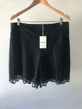 COUNTRY ROAD : NEW! SZ 16 [CR LOVE] leaf lace short - black XL