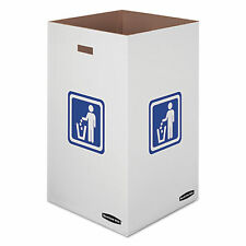 Waste and Recycling Bin, 50 gal, White, 10/Carton
