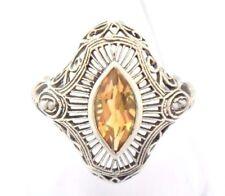CITRIN Semi Perle ART DECO anello taglia 52 ARGENTO 925 antico Style Sterling Argento