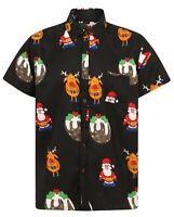 Christmas Short Sleeve Shirt Mens Santa Loud Hawaiian Surf Xmas Hat Party S-4XL