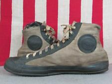 Vintage 1930s US Keds Black/White Canvas Basketball Sneakers Gym Shoes Sz 9.5