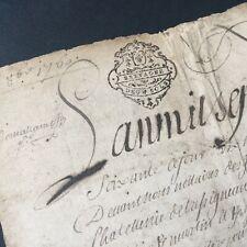 Acte Notarié 1760 Marque Généralité De Bretagne