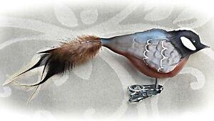 ❀ Tannenmeise Meise Glasvogel Lauscha Glas Vogel Christbaumschmuck 19/8,5cm #109