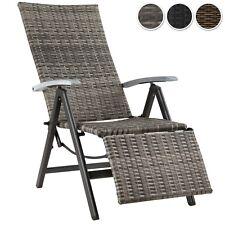 Fauteuil relax chaise longue de jardin pliant en ALU résine tressée repose pieds