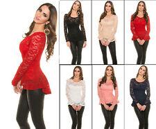 Damenblusen,-Tops & -Shirts mit Rundhals und Stretch für Party ohne Mehrstückpackung