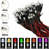 10/20/50/100pcs DC 9-12V 3mm 5mm 10mm LED Pre wired Light Emitting Diodes Wire