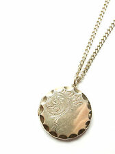 """Vintage Gold On 925 Sterling Silver ROUND PHOTO LOCKET PENDANT & CHAIN 12.5g 22"""""""