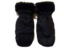 Merona Mirafil Insulated Black Fur Cuffed Mittens Size S/M Free Shipping