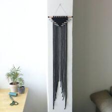 "Boho Hippy Tribal chic macrame black cord wall hanging handmade fiber art 37"""