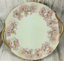 """Cake Plate Tressemann & Vogt Limoges France 11"""" Gold Handled Wild Rose Flowers"""
