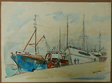Aquarelle Marine Port Bateaux BRETAGNE Douarnenez PIERRE ABADIE LANDEL 1963