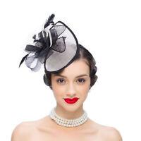Women Sinamay Fascinator Headband Kentucky Derby Wedding Feather Flower Hat T348