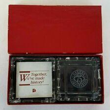 1990 DELUXE CHECKS Printers 75 Anniversary Set of 2 Glass ASHTRAYS Mint in Box