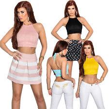 Ärmellose Damenblusen, - tops & -shirts mit Neckholder ohne Muster