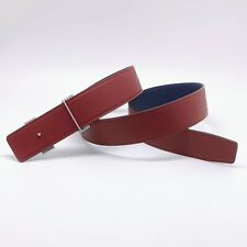 Handmade 42mm Reversible leather belt Navy Blue/blood Red Free Shipping Size 100