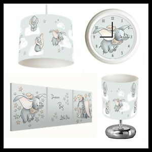 DUMBO  - Unisex Nursery Bedroom - Lightshade, Lamp, Clock, Canvas Prints