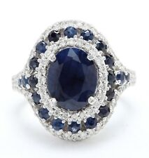 4.49 Carat Natural Blue Sapphire & Diamonds in 14K White Gold Women Ring