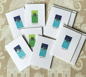 PACK OF 5 HANDMADE THANK YOU CARDS WITH MATCHING ENVELOPES