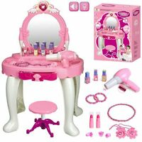 Kids Girl Glamour Mirror Dressing Table Play Set w/ Light & Sounds Toy Game Gift