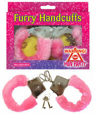 METAL FURRY FLUFFY HANDCUFFS RED BLACK FANCY DRESS HEN NIGHT STAG DO PLAY TOY