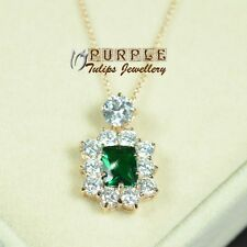 18CT Rose Gold GP Luxury Emerald Necklace Made With Swarovski Crystals