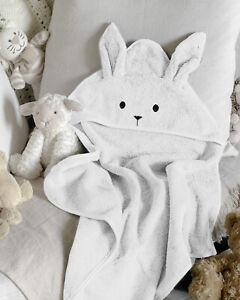 WHITE BABY BUNNY TOWEL HOODED RABBIT LUXURY 100% COTTON NEWBORN BATH SHOWER