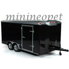 AUTOWORLD AMM1217 FOUR WHEEL ECLOSED TRAILER 1/18 DIECAST BLACK with SILVER TOP