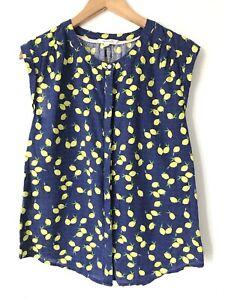 White Stuff Lemon Print Blouse UK 10 Navy Cotton Round Neck Summer Top Tunic
