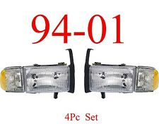 94 01 Dodge Ram Head Light Set, Truck, W/ Parking Lights 1500, 2500, 3500, Combo