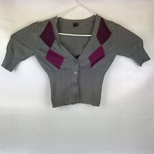 Take Out Womens SZ LG Gray Lightweight Cardigan Sweater Red Checks