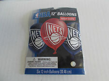"""New Jersey Nets lot of 12 packs of 12"""" balloons. 6 p/pk. Total 72 Balloons IU-3"""