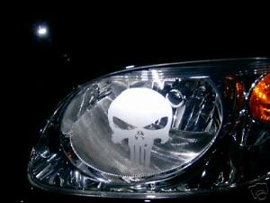 PUNISHER (Pair) SKULL HEAD LIGHT Headlight ETCHED DECAL STICKERS Window 19