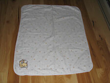 THE DISNEY STORE WINNIE THE POOH BABY BLANKET CREAM IVORY COTTON BLOCK PATCH