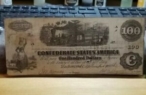 Confederate States of America 100 Dollar Note very nice