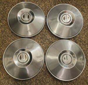 RARE Set of 4 OEM 1965 Oldsmobile Cutlass 442 Dog Dish Poverty Hubcaps Hub Caps