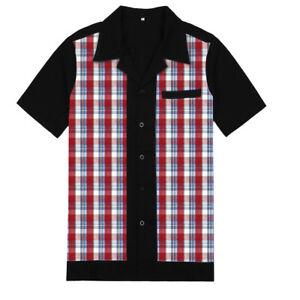 Mens Retro Plaid Shirt Short Sleeve Cotton Rockabilly Bowling Mens Clothes