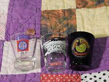 SHOT GLASS (LOT of 3) AIRBORNE Ft. Bragg_White Sands_Sun Studio Memphis (F.SHIP)