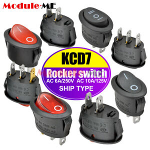1/5/10PCS KCD7 26*14MM 6A/250V Oval Rocker Terminals Boat Switch 2/3Pin ON/OFF