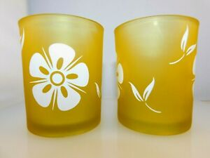 Set of 12 Frosted Yellow Glass Round Votive Candle Holders with White Flowers