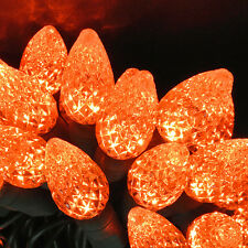 50 count C 6 LED Christmas Light String Orange Halloween Fall Color