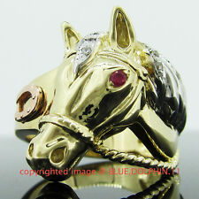 Real 9CT Solid Gold Horse Engagement Wedding Dress Rings Ruby Simulated Diamonds