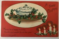 Antique Clapsaddle Christmas Postcard~Holly~Ivy~Candles~Blue & White Bowl-a-15