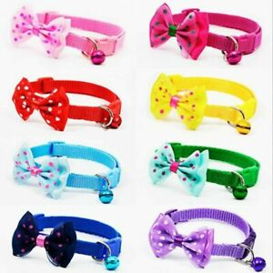 Dog Cute Bow Collar Tie Check Small Puppy Pet Bell Adjustable Collars Scarf CatS