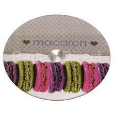 Macaron Tempered Glass Lazy Susan Turntable Rotating Serving Plate Cake 25cm